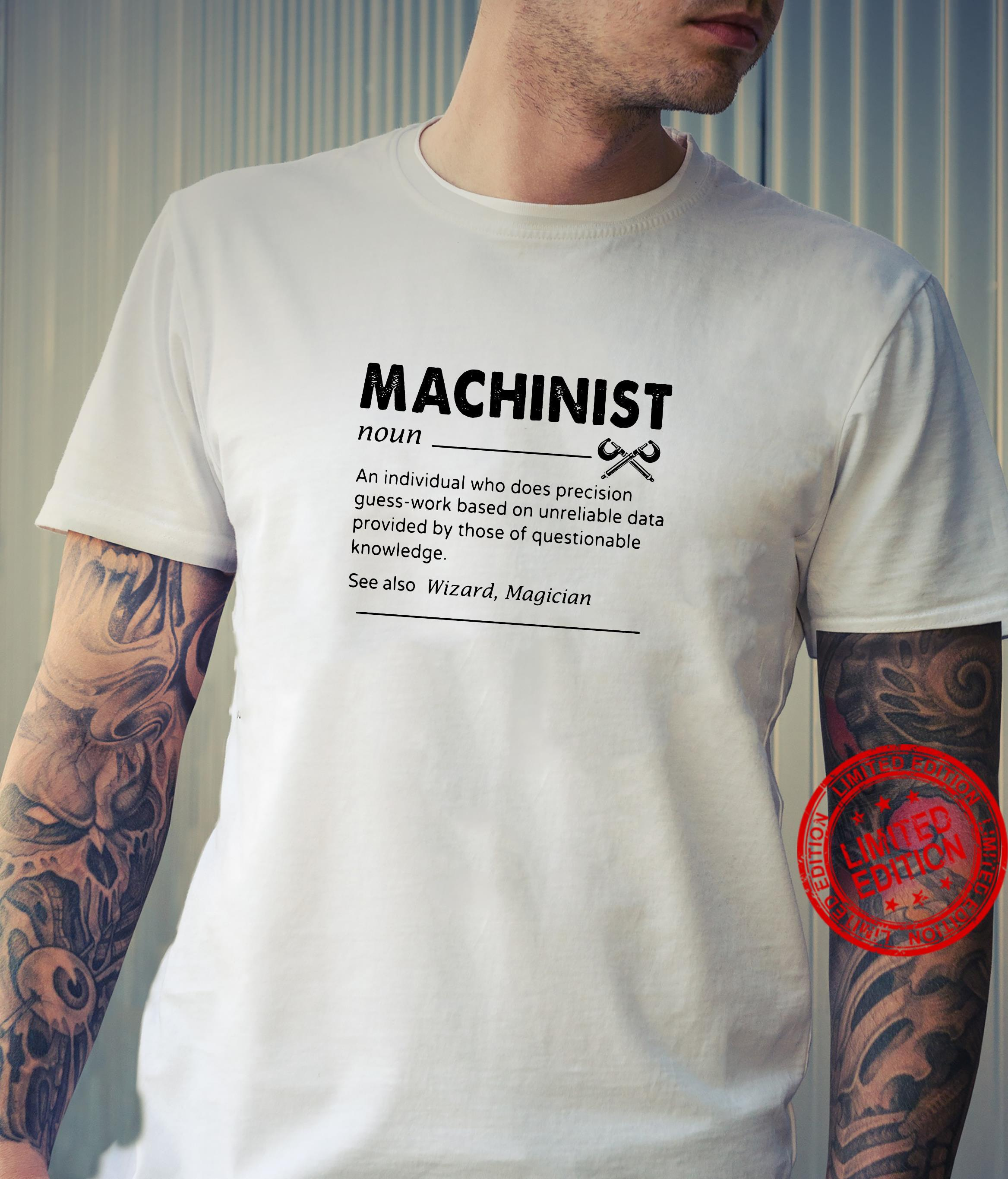 Machinist noun an individual who does precision guess-work based on unreliable shirt