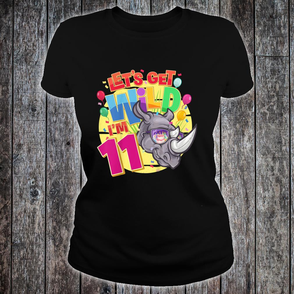 11th Birthday Rhinos Party Let's Get Wild I'm 11 Year Old Shirt ladies tee