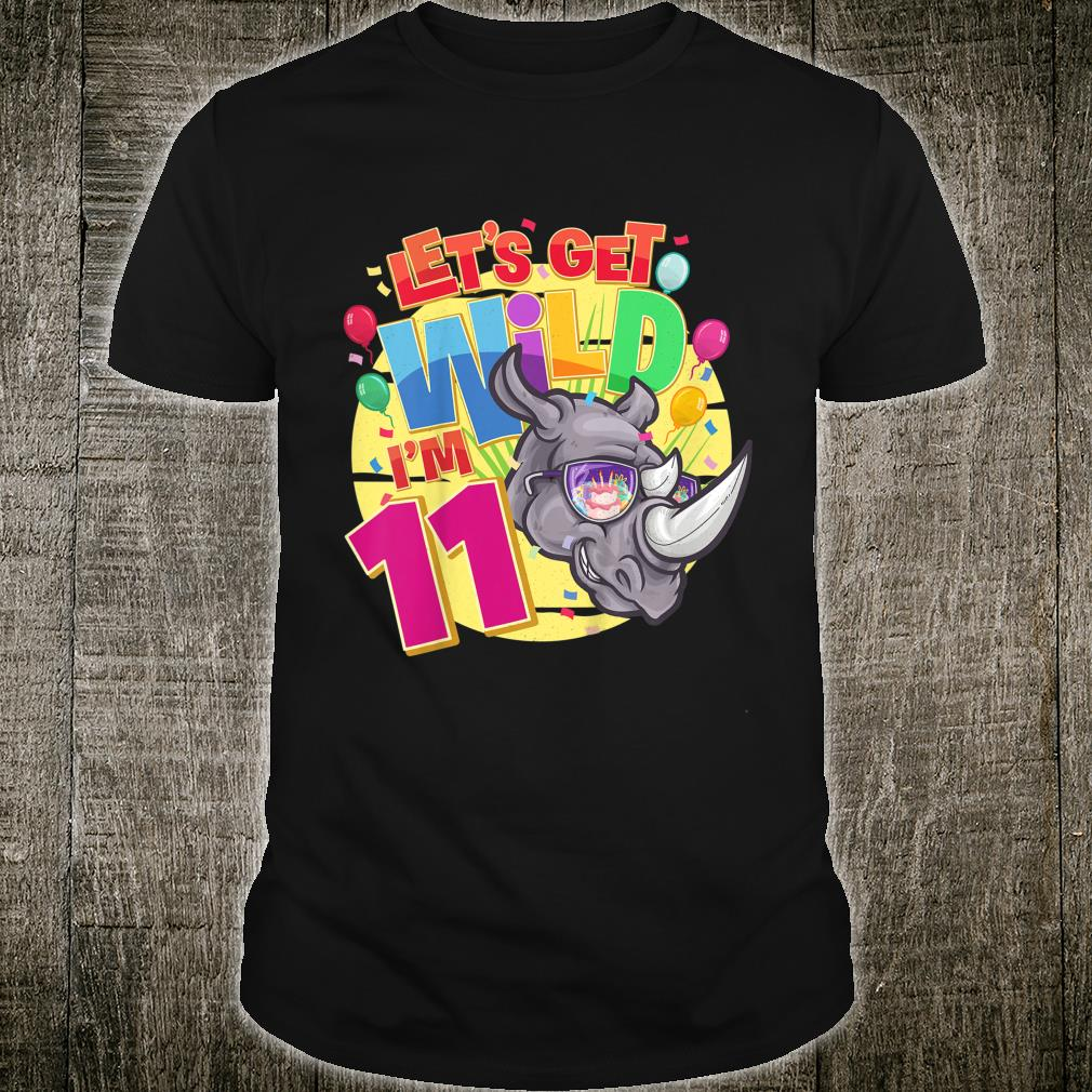11th Birthday Rhinos Party Let's Get Wild I'm 11 Year Old Shirt