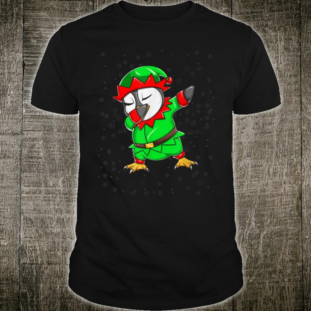 Christmas Dabbing Penguin In Elf Holiday Costume Shirt