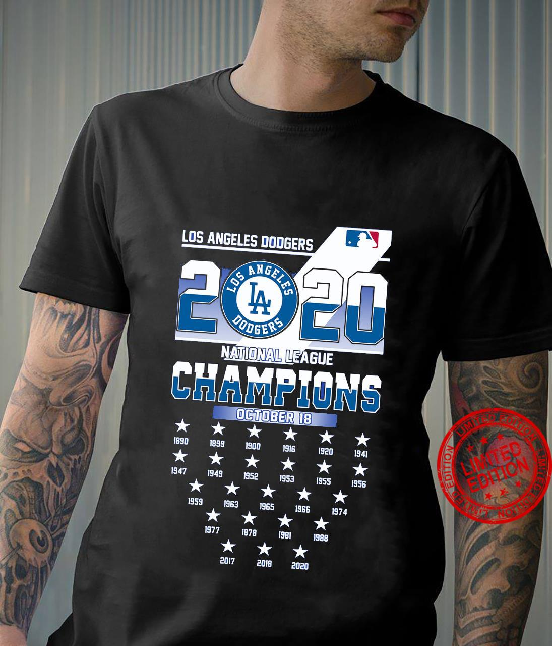 Los Angeles Dodgers 2020 National League Champions October 18 Shirt unisex