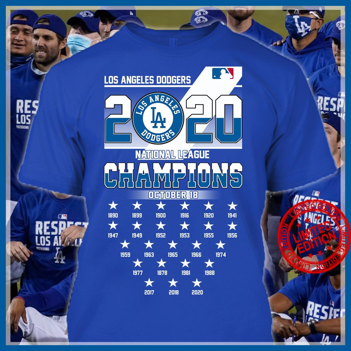 Los Angeles Dodgers 2020 National League Champions October 18 Shirt