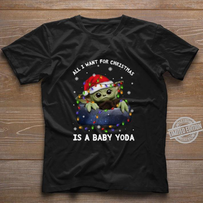 Pretty All i want for Christmas lights is a baby Yoda Santa hat shirt