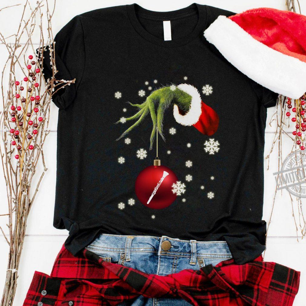 Santa Grinch Hand Holding Clarinet Christmas Shirt