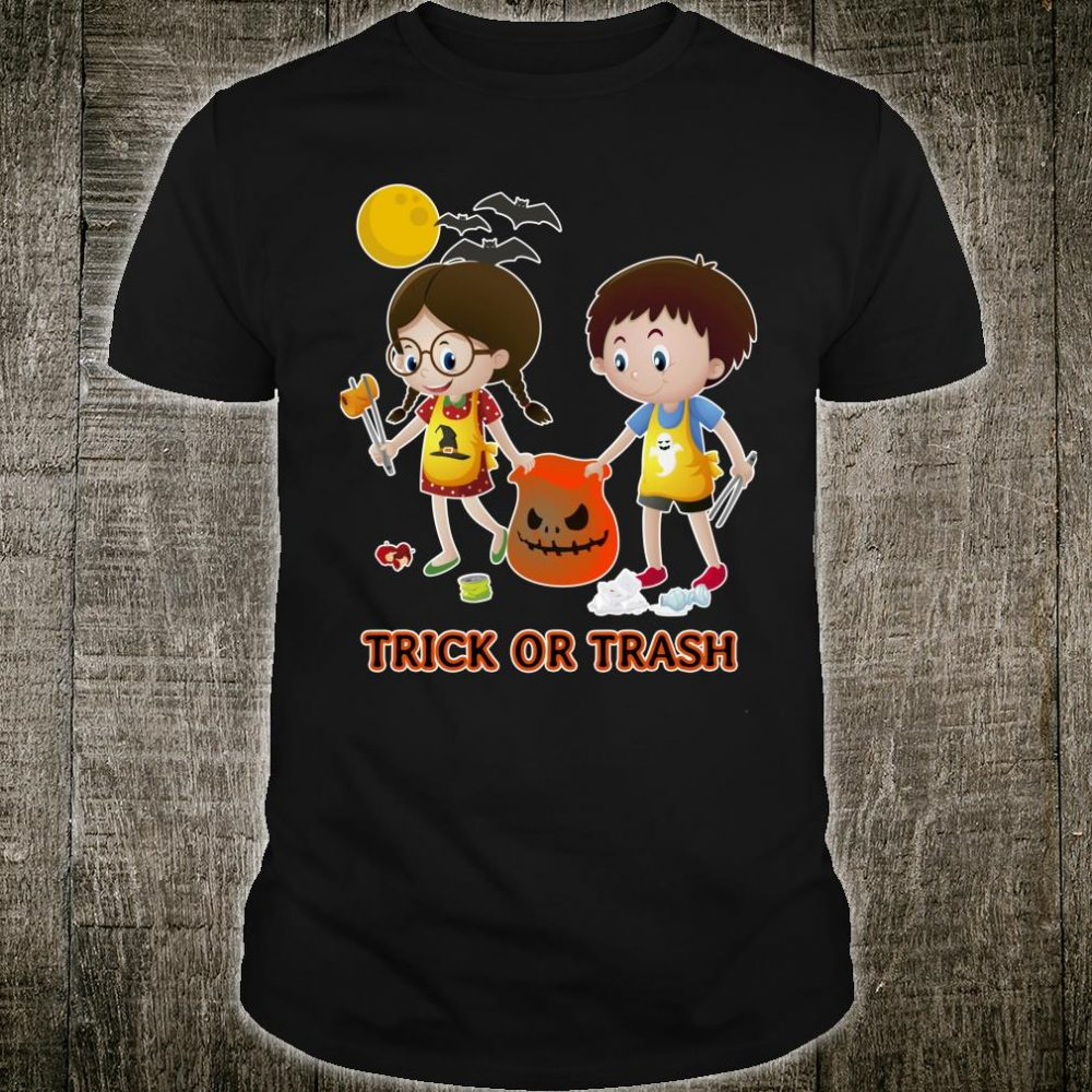 Trick Or Trash Funny Halloween Earth Day Recycle Garbage Shirt